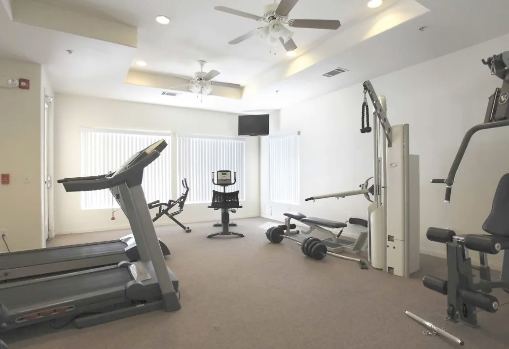 A view of Belcourt Apartments gym area