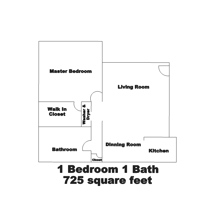 A view of Belcourt Apartments 1 bed / 1 bath floorplan