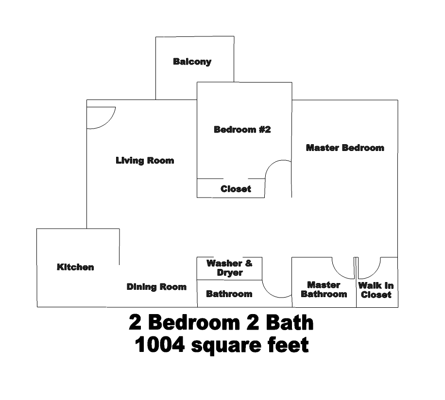 A view of Belcourt Apartments 2 bed / 2 bath floorplan