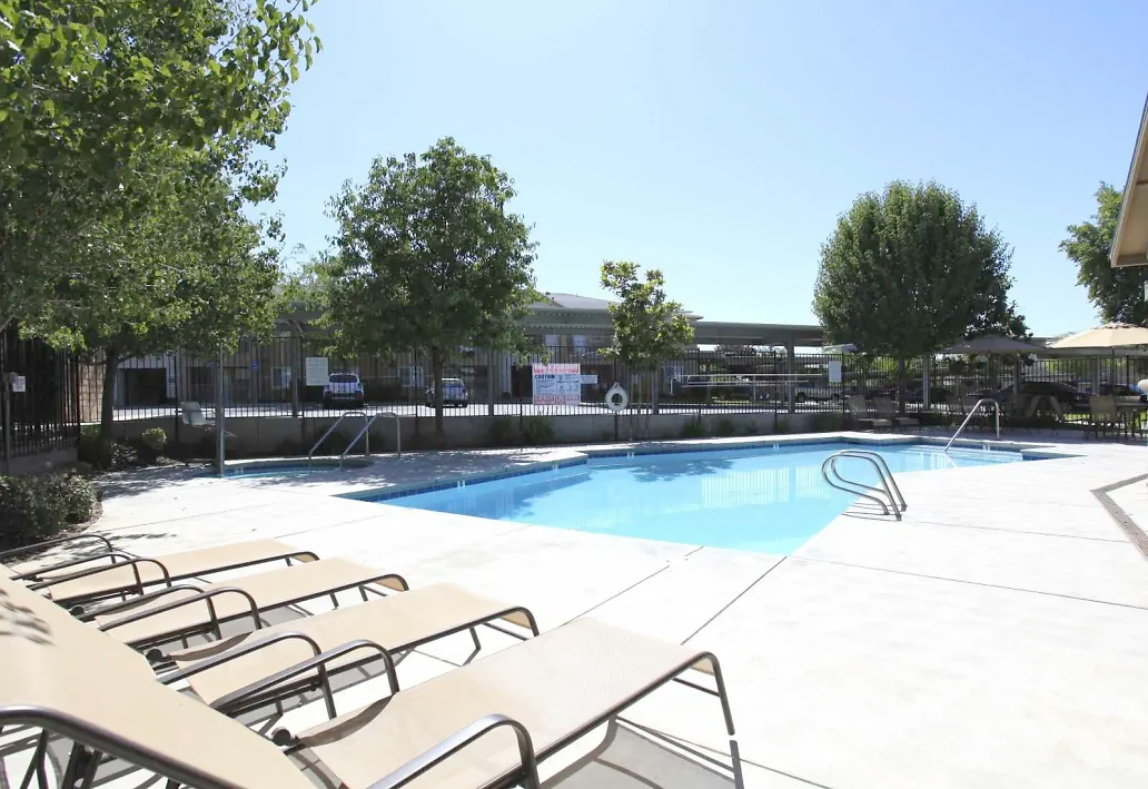 A view of Belcourt Apartments grounds including pools